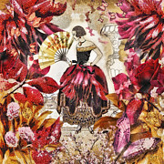 Red Leaves Mixed Media Posters - Jardin des Papillons Poster by Mo T