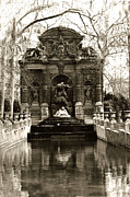 Paris In Sepia Framed Prints - Jardin du Luxembourg Gardens-Medici Fountain Framed Print by Kathy Fornal