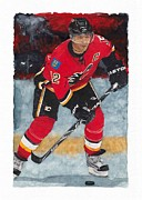 Calgary Flames Paintings - Jarome Iginla by Glen Green