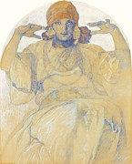 Bohemia Paintings - Jaroslava Mucha by Alfonse Mucha