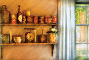 Shelves Posters - Jars - Kitchen Shelves Poster by Mike Savad