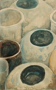 Ceramic Glazes Metal Prints - Jars Metal Print by Diane montana Jansson