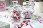 Jars Of Candies On Table Print by Debby Lewis-Harrison