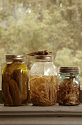 Ball Jar Prints - Jars of Pickles on Windowsill Print by Jill Battaglia