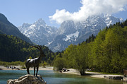 European Alps Framed Prints - Jasna Lake In Julian Alps With Statue Of Mythical Chamois Zlatorog Framed Print by John Elk III
