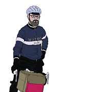 Bike Drawings - Jason - Cyclist by Karl Addison