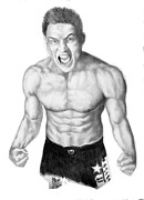 Fists Drawings - Jason Mayhem Miller 02 by Audrey Snead