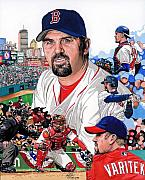 Red Sox Drawings - Jason Varitek by Neal Portnoy