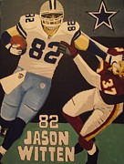 Witten Prints - Jason Witten STIFFARM Print by Simon Hardesty