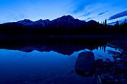 Pyramid Mountain Framed Prints - Jasper - Patricia Lake And Pyramid Mountain At Dusk Framed Print by Terry Elniski