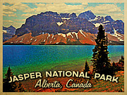 Vintage Digital Art Metal Prints - Jasper National Park Canada Metal Print by Vintage Poster Designs