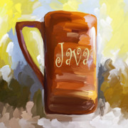 Jai Johnson Prints - Java Coffee Cup Print by Jai Johnson