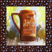 Espresso Paintings - Java Coffee Cup With Blue Dots by Jai Johnson