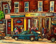 Summer Awnings Prints - Java U Coffee Shop Montreal Painting By Streetscene Specialist Artist Carole Spandau Print by Carole Spandau