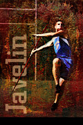 Throw Mixed Media Posters - Javelin thrower Poster by John Turek