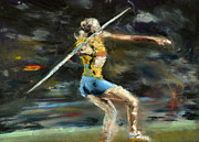 Sports Art Pastels Acrylic Prints - Javelin Thrower Acrylic Print by Paul Mitchell