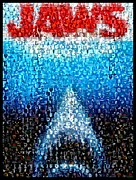 Movie Mixed Media Prints - JAWS horror mosaic Print by Paul Van Scott