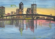 Jacksonville Mixed Media Framed Prints - Jax Cityscape Framed Print by JD Moores