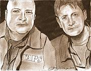 Ghosts Drawings Posters - Jay and Grant The Ghost Hunters Poster by Jason Kasper