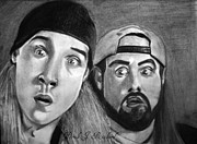 Derek Drawings - Jay and Silent Bob Portrait Prints by Derek Rickard