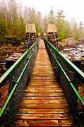 Cooke Photos - Jay Cooke Hanging Bridge In Fog by Shutter Happens Photography