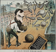 Bowling Alley Framed Prints - Jay Gould Cartoon, 1882 Framed Print by Granger
