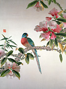 Pink Flowers Tapestries - Textiles Prints - Jay on a flowering branch Print by Chinese School
