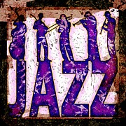 Bassist Metal Prints - Jazz Abstract Metal Print by David G Paul