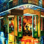 Abstract Impressionism Paintings - Jazz at the Maison Bourbon by Diane Millsap