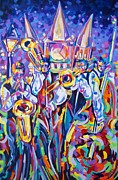 Trombone Painting Originals - Jazz at the Square by Elaine Adel Cummins