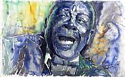 Jazz-stars Framed Prints - Jazz B B King 04 Blue Framed Print by Yuriy  Shevchuk