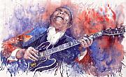 Watercolor  Paintings - Jazz B B King 05 Red by Yuriy  Shevchuk