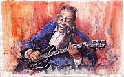 Watercolor Framed Prints - Jazz B B King 06 a Framed Print by Yuriy  Shevchuk