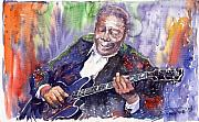 Watercolor Metal Prints - Jazz B B King 06 Metal Print by Yuriy  Shevchuk