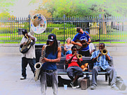 Jazz Band Prints - Jazz band at Jackson Square Print by Bill Cannon