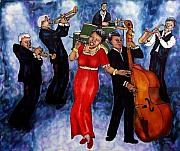 Featured Tapestries - Textiles Posters - Jazz Band Poster by Linda Marcille