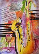 Jazz Painting Originals - Jazz Bar by Tricia PoulosLeonard