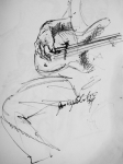 Jazz Drawings Prints - Jazz Bass Guitarist Print by Jamey Balester
