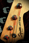 Bass Digital Art Prints - Jazz Bass Headstock Print by Todd A Blanchard