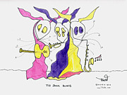 Trio Drawings Posters - Jazz Blues Trio Poster by Tis Art