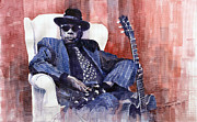 Watercolour Prints - Jazz Bluesman John Lee Hooker 02 Print by Yuriy  Shevchuk