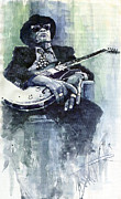 Watercolor  Paintings - Jazz Bluesman John Lee Hooker 04 by Yuriy  Shevchuk