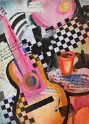 Jazz Painting Originals - Jazz Cafe by Tricia PoulosLeonard