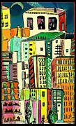 Crowds  Prints - Jazz City Print by Mindy Newman
