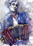 Musician Paintings - Jazz Concertina player by Yuriy  Shevchuk