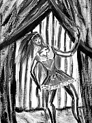 Multicultural Paintings - Jazz Dancer in Black  and White by BJ Abrams