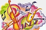 Trombone Drawings Posters - Jazz Deco Poster by Mel Thompson