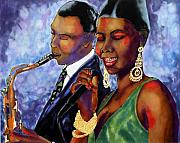 Sax Tapestries - Textiles Posters - Jazz Duet Poster by Linda Marcille