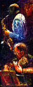 Jazz Painting Prints - Jazz Duet Print by Yuriy  Shevchuk