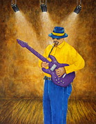 Stage Lights Paintings - Jazz Guitar Man by Pamela Allegretto